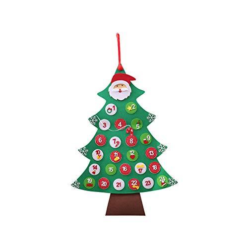 lightclub - Calendario de Navidad con diseño de árbol de Navidad, 24 días, decoración para el hogar y el Hotel, Verde, 1