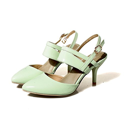 CHFSO Womens Mid Stiletto Buckle Strappy Leather Pointed Toe Dress Pumps Shoes Green e8n6ZpcbH