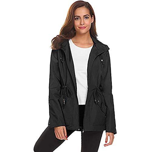 JESPER Womens Active Outdoor Waterproof Lightweight Raincoat Hooded Overcoat Rain Jacket Black