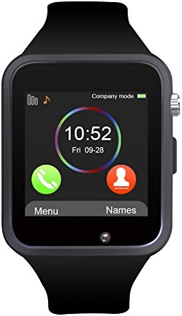 Padgene Bluetooth Smartwatch,Touchscreen Wrist Smart Phone Watch Sports Fitness Tracker with SIM SD Card Slot Camera Pedometer Compatible with iPhone iOS Android for Kids Men Women Black