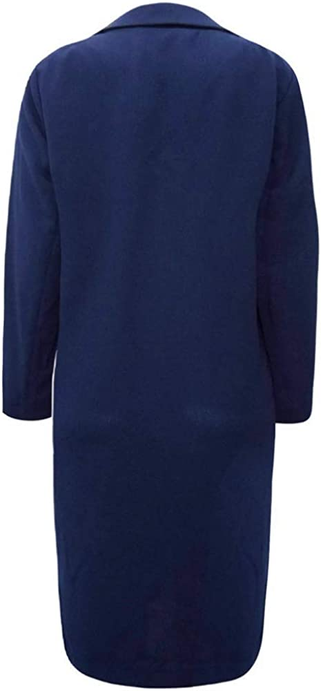 Ex Marks and Spencer Navy Longline Crepe Duster Tailored Blazer Jacket Coat