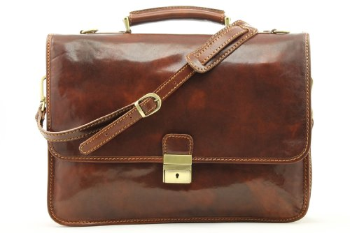 3/4 Flap Messenger Bag (Alberto Bellucci Mens Italian Leather Padova Double Compartment Laptop Messenger Bag in Brown)