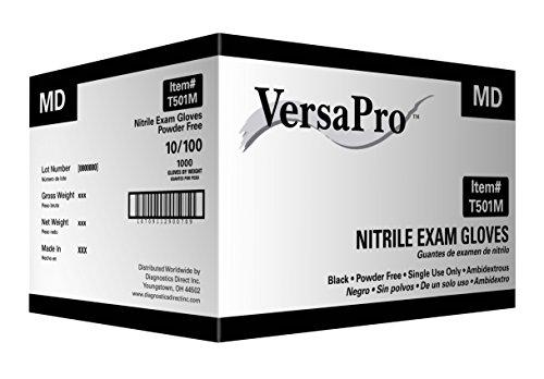 VersaPro Black Nitrile Exam Gloves, Powder Free (Medium 1000/case)