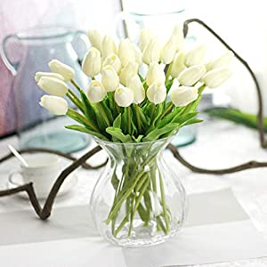 GSD2FF 10pcs Tulip Artificial Flower Real Touch Bridal Wedding Bouquet Home Decor Decorating Flowers The Bride's Bouquet 35