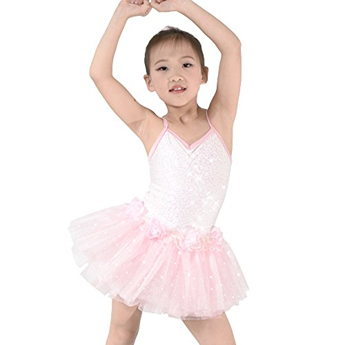 MiDee Ballet Tutu Dress Dance Costume Sequins Camisole Floral Lovely Pinky (SC, Pink) - Disco Dance Costumes For Competitions