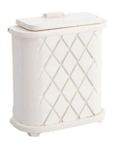 Dollhouse White Wood Laundry Basket Clothes Hamper Miniature 1:12 Accessory (Furniture Import 1)