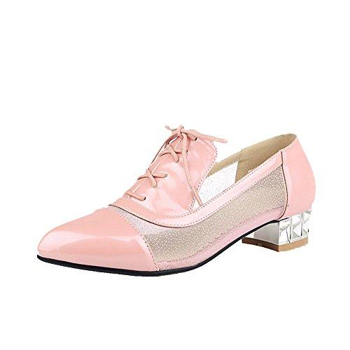 AgooLar Damen Schnüren Blend-Materialien Spitz Zehe Niedriger Niedriger Niedriger Absatz Rein Pumps Schuhe Pink d001ca