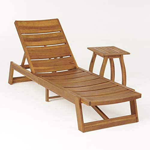 Great Deal Furniture Sarah Outdoor Acacia Wood Chaise 2 Piece Lounge