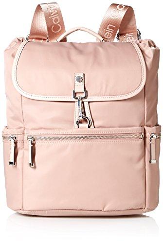 Calvin Klein womens Calvin Klein Lianna Nylon Flap Over Backpack, sugar plum, One Size