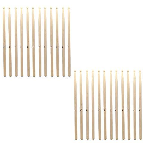 ZHRUNS Drum Sticks 5A Wood Tip Drumstick, Maple, Wood Tip Natural Maple Drumsticks (12 Pairs)