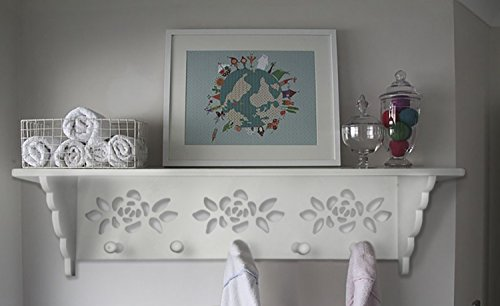 (Hook Rack with Shelf on Top,White Laser Cut 5 Pegs Perfect for Your Keys or Hang Coat and Accessories Neatly on Top. Includes Mounting Hardware)