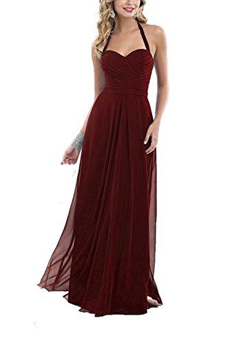 Simple Dress Halter Beach Flowy Boho Bridesmaid Amore Long Burgundy Gown Bridal Chiffon qgUw0X