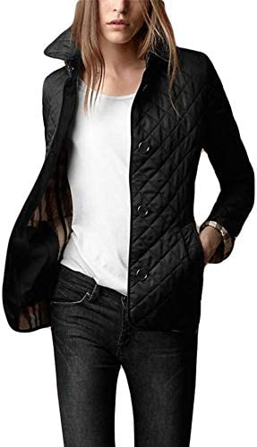 Chartou Women's Winter Insulated Checker Quilted Single Breasted Lightweight Parka Jacket