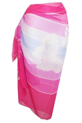 Butterfly Print–Tamari–Pareo Playa Cover Up Vestido wrap para mujer (Rosa)