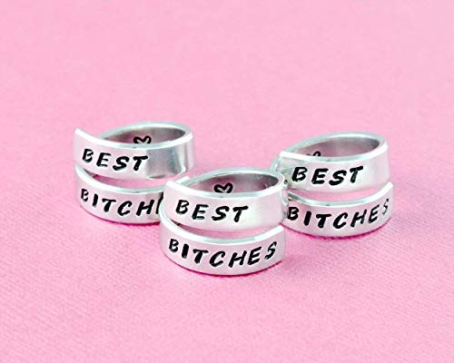 BEST BITCHES - Hand Stamped Aluminum Spiral Wrap Rings Set of 3, Sorority Sisters Best Friends BFF Gifts, Personalized Friendship Jewelry, Handwritten Font