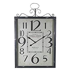 Essential Décor Entrada Collection Metal Wall Clock, 27.5 by 17.7 by 2.3-Inch