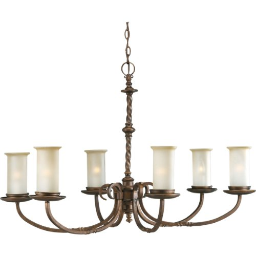 - Progress Lighting P4588-102 6-Light Santiago Chandelier, Roasted Java