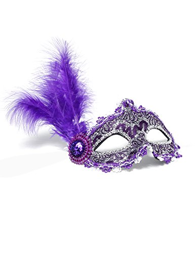 Jevenis Venice Masquerade Ball Mask Costume Party Mask Carnival Ball Mask Masquerade Mardi Gras Halloween Mask Custom mask (Purple)