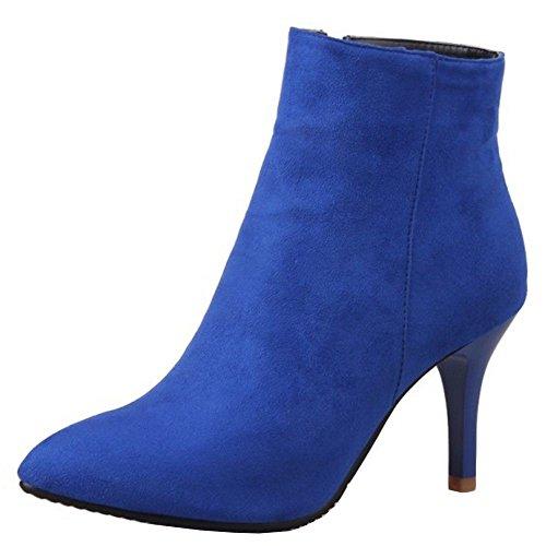 Zipper Zipper Alto RAZAMAZA con Elegante Elegante Donna Blue Stivali Stivaletti Tacco qFxfFw0g