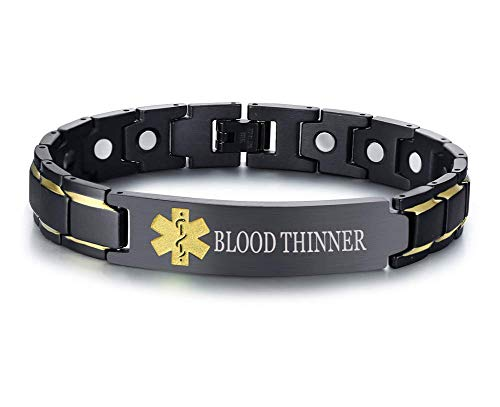 XUANPAI Blood THINNER Brushed Name Plate ID Identity Magnet Therapy Medical Alert ID Bracelet(Black+Yellow)