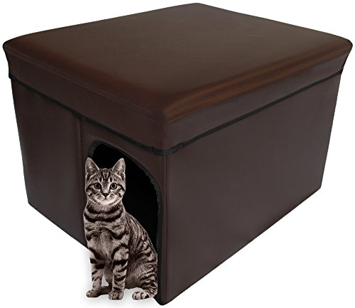 Mable Ruth Ottoman Pet House Hidden Litter Box Enclosure & Pet Bed Friendly - Enclosed Leather Litter Box Furniture for Cats & Dogs - Large (Dark Brown Expresso)