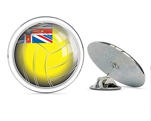 "Niue Volleyball World Flag Round Metal 0.75"" Lapel Pin Hat Shirt Pin Tie Tack Pinback"
