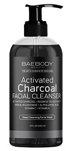 Charcoal Facial Cleanser - Daily Cleanser for Deep Pore Cleansing, Detoxifying, and Smooth Skin. Helps Clear Pores on Oily, Dry & Sensitive Skin with Natural Ingredients.