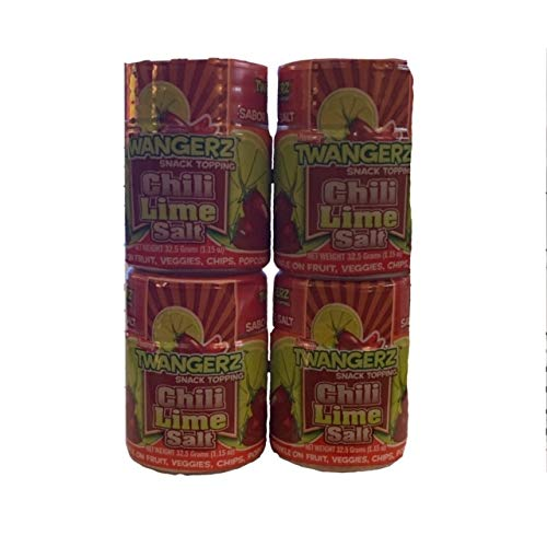 Twangerz Chili-Lime Salt | Twang Chili Lime Salt | Seasoning Salt | Chili Lime Snack Topping | 1.15 oz Tubs | Pack of 4 Tubs