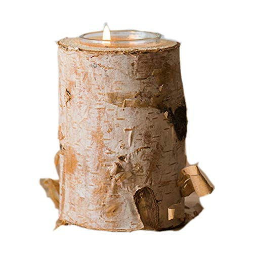 Creative Candlestick Brown Columnar Silver Birch Candle Holder Pillar Taper Candle Light Home Wedding Party Dinner Fireplace Candlelight Dining Room Decor Centerpiece Gift Friend Family