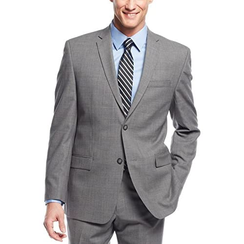 high-quality Marc New York Slim Fit Light Grey Plaid Wool Suit 36