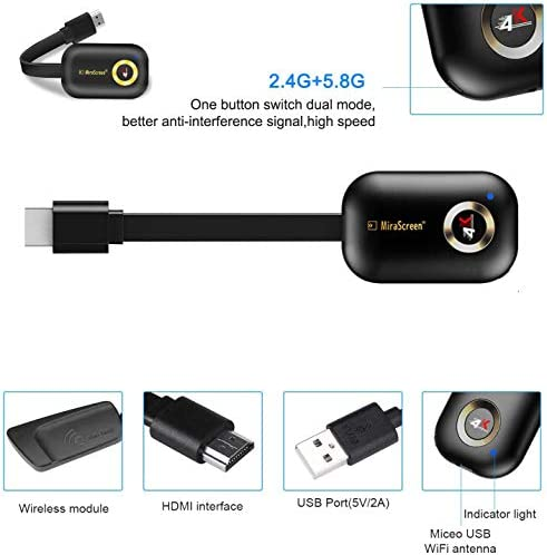4K HDMI Wireless Display Dongle Adapter, WiFi HDMI Adapter Connector Support Airplay DLNA Miracast Compatible with iOS Android/Windows/Mac/PC/MacOS to TV/Projector/Monitor, Miracast, DLNA, Airplay