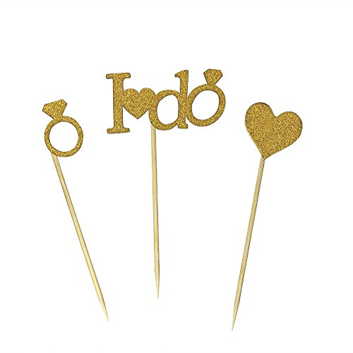 24 PCS DIY Gold Glitter I DO Ring Heart Cake Cupcake Toppers Picks For Engagement Wedding Bridal Shower Party Decorations