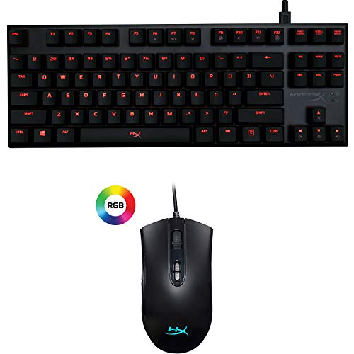 HyperX Alloy FPS Pro - Tenkeyless Mechanical Keyboard - Ultra - Compact Form Factor - Cherry MX Red and HyperX Pulsefire Core - RGB Gaming Mouse