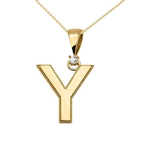 """Collier Femme Pendentif 10 Ct Or Jaune Poli Élevé Milgrain Solitaire Diamant """"Y"""" Initiale (Livré avec une 45cm Chaîne)"""