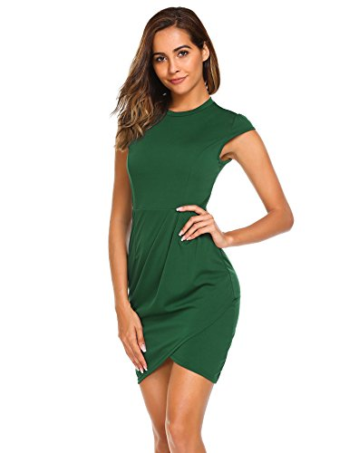 Burlady Women's Mock-Neck Cap Sleeve Business Party Bodycon Pencil Wrap Dress Dark Green S