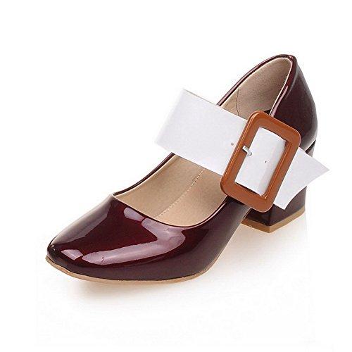 AgooLar Damen Quadratisch Zehe Schnalle PU Gemischte Farbe Mittler Absatz Pumps Schuhe Weinrot