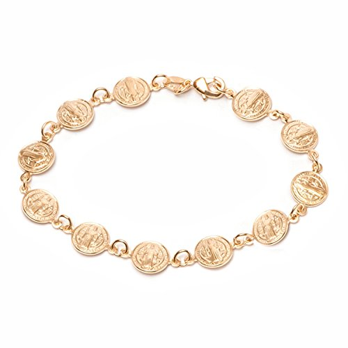 - Barzel 18K Gold Plated Gold Religious Bracelet with Saint Benedict Coins