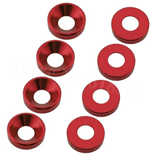 Part & Accessories 8PCS Aluminum M4 Countersunk Concave Washer 4mm Flat Head Screws Bolts For Hobby RC Model Car Quadcopter Parts Anodized - (Color: Red)