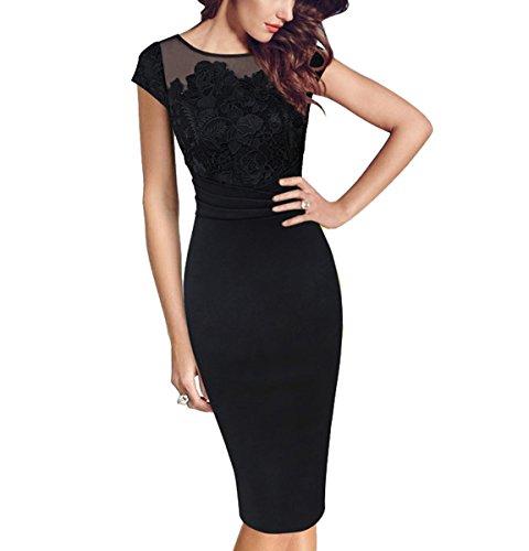 U8Vision - Vestido - Estuche - para mujer negro