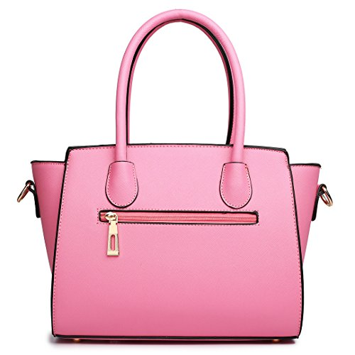 Satchel Faux Handbag 1625 Small Pink Bag Shoulder Lulu Winged Women Miss Leather OWfxRH1n