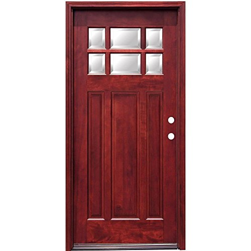 Craftsman Exterior Wall (Craftsman 6 Lite Stained Mahogany Wood Entry Door with 6 in. Wall Series)
