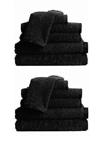 BR Beauty Economy Salon Towels, Black, 24 Towels per Pack by BR Beauty