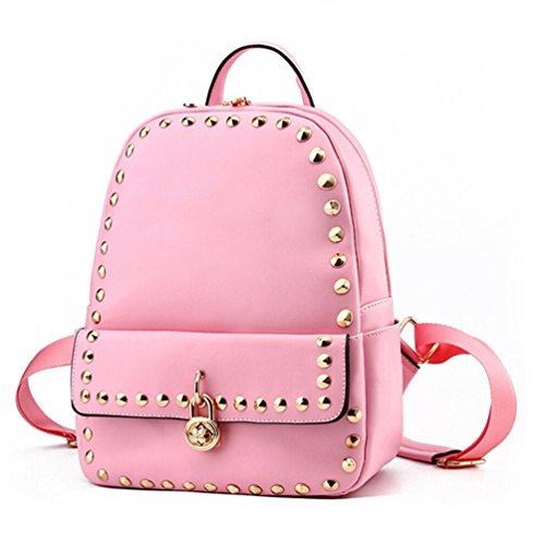 [Tiny Chou Small Fashion Rivet Spikes PU Leather Backpack Shoulder Bag for Girls] (Patent Leather Backpack)