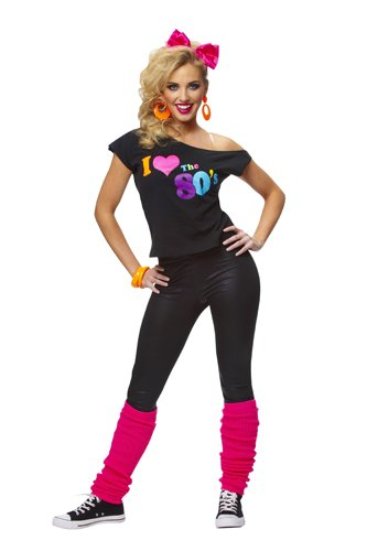 I Love The 80s Shirt, Black, Adult - Medium/Large (10-14) (80s Womens Fancy Dress)