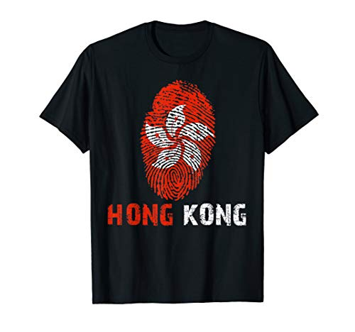 HONG KONG Finger Print Flag Tshirt I Love Travel Tee T-Shirt