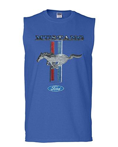Ford Mustang Classic Muscle Shirt GT Cobra Boss 302 Mach 1 Sleeveless Blue XL
