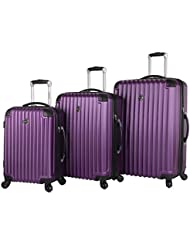 Lucas Outlander Luggage Hard Case 3 Piece Expandable Rolling Suitcase Sets With Spinner Wheels