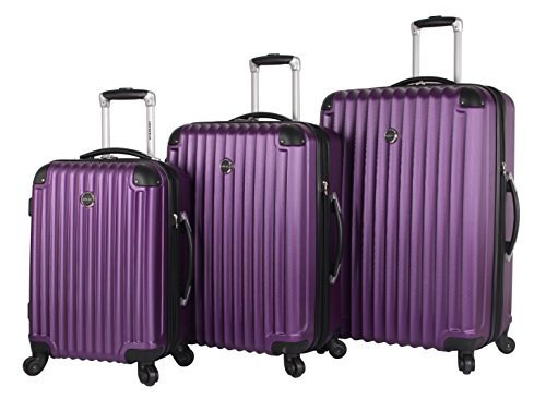 Lucas Outlander Hard Case 3 Piece Expandable Rolling Suitcase Sets With Spinner (5 Piece Expandable Luggage Set)