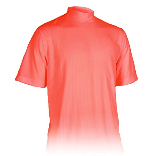 (Monterey Club Mens Dry Swing Vertical Stripe Texture Mock Neck Shirt #3306 (Dusty Orange, 3X-Large))