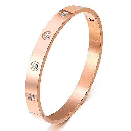 Mens Bangle - Mocalady Jewelry Rose Gold Plated Bangle Bracelet All Zirconia Stone Stainless Steel Crystal Bangle Bracelets for Women Jewelry Size 7